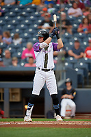 "Akron RubberDucks Nolan Jones (17) at bat during an Eastern League game against the Erie SeaWolves on August 30, 2019 at Canal Park in Akron, Ohio.  Akron wore special jerseys with the slogan ""Fight Like a Kid"" during the game for Akron Children's Hospital Home Run for Life event, the design was created by 11 year old Macy Carmichael.  Erie defeated Akron 3-2.  (Mike Janes/Four Seam Images)"