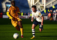 Preston North End's Sean Maguire competes with Wigan Athletic's Cedric Kipre<br /> <br /> Photographer Richard Martin-Roberts/CameraSport<br /> <br /> The EFL Sky Bet Championship - Preston North End v Wigan Athletic - Saturday 6th October 2018 - Deepdale Stadium - Preston<br /> <br /> World Copyright &not;&copy; 2018 CameraSport. All rights reserved. 43 Linden Ave. Countesthorpe. Leicester. England. LE8 5PG - Tel: +44 (0) 116 277 4147 - admin@camerasport.com - www.camerasport.com