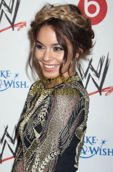 Vanessa Hudgens<br /> WWE &amp; E! Entertainment's &quot;SuperStars For Hope&quot; supporting Make-A-Wish at The Beverly Hills Hotel in Beverly Hills, CA., USA.<br /> August 15th, 2013<br /> side gold black embroidered hair up braid plait dyed blonde half length  dress<br /> CAP/ADM/RE<br /> &copy;Russ Elliot/AdMedia/Capital Pictures