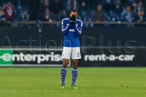 25.02.2016. Gelsenkirchen, Germany. Europa League Round of 32 Second Leg soccer match between Schalke 04 and FC Shakhtar Donetsk in the Veltins Arena in Gelsenkirchen, Germany.  Joel MATIP (S04) unhappy to go behind by 0:3