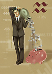 Businessman pouring money into a piggy bank