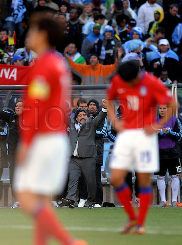Diego Maradona, coach of Argentina celebrates victory after the FIFA World Cup 2010 soccer match between Argentina and South Korea at the Soccer City Stadium on June 17, 2010 in Johannesburg, South Africa.