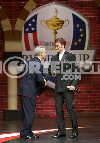 September 26, 2012: The first ever Ambassador for the U.S. Ryder Cup team Justin Timberlake (R) greets Chicago Mayor Rahm Emanuel (L) during the 39th Ryder Cup Gala at Akoo Theatre in Rosemont, Illinois, USA. Credit: Kamil Krzaczynski/MediaPunch Inc. /NortePhoto