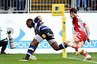 Semesa Rokoduguni of Bath Rugby scores a try in the first half. Aviva Premiership match, between Bath Rugby and Gloucester Rugby on October 29, 2017 at the Recreation Ground in Bath, England. Photo by: Patrick Khachfe / Onside Images