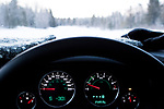 Car thermometer showing well below freezing temperatures in boreal forest in winter, Riding Mountain National Park, Manitoba, Canada