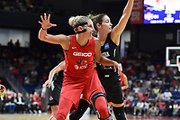 Washington, DC - August 25, 2019: Washington Mystics forward Elena Delle Donne (11) fights for position in the post against New York Liberty forward Rebecca Allen (9) during second half action of game between the New York Liberty and the Washington Mystics at the Entertainment and Sports Arena in Washington, DC. The Mystics defeated New York 101-72. (Photo by Phil Peters/Media Images International)