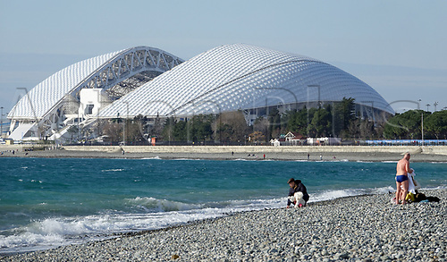 28th January 2018, Sochi, Russia; View of the Fisht-Stadium in Sochi, Russia. The site hosted the Sochi Winter-Olympics in 2014 and will host six World Cup soccer games in the summer of 2018.