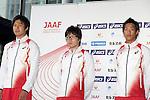 (L-R) Shota Iizuka, <br /> Takayuki Kishimoto, Seito Yamamoto (JPN), <br /> JUNE 10, 2013 - Athletics : Athletics Japan National Team Press Conference for the IAAF World Championships 2013 Moscow at Akasaka Sacas Gallery in Tokyo, Japan. <br /> (Photo by AFLO SPORT)