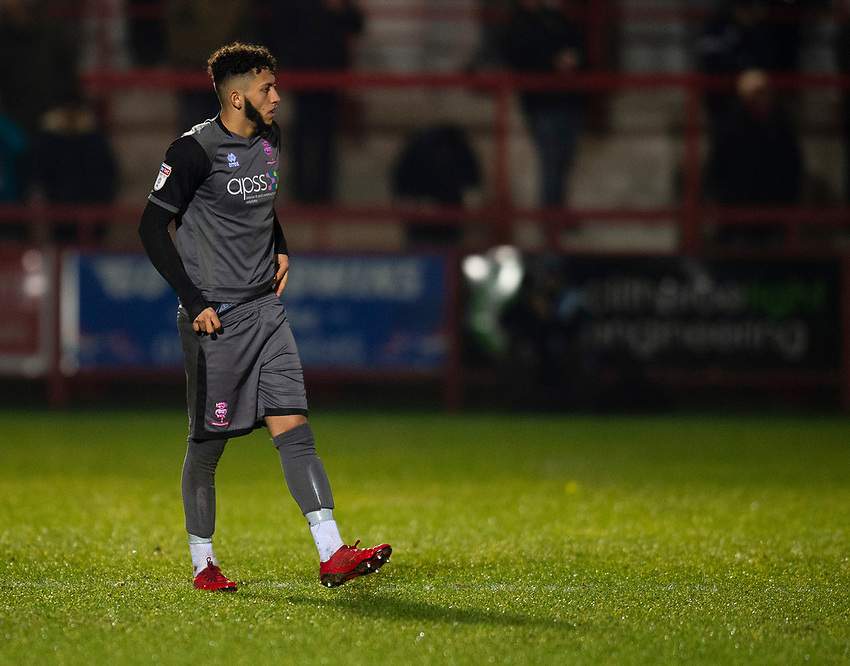 Lincoln City's Kellan Gordon<br /> <br /> Photographer Andrew Vaughan/CameraSport<br /> <br /> The EFL Checkatrade Trophy Second Round - Accrington Stanley v Lincoln City - Crown Ground - Accrington<br />  <br /> World Copyright © 2018 CameraSport. All rights reserved. 43 Linden Ave. Countesthorpe. Leicester. England. LE8 5PG - Tel: +44 (0) 116 277 4147 - admin@camerasport.com - www.camerasport.com