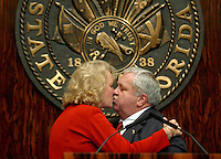 TALLAHASSEE, FL. 4/30/04-Senate President Jim King is kissed by his wife Linda moments after the 2004 session ended Friday at the Capitol in Tallahassee. While King's tenure as Senate president is coming to a close, he will remain in the upper chamber for two more years. COLIN HACKLEY PHOTO