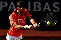 Novak Djokovic of Serbia in action during the Men's final match played against Rafael Nadal of Spain. Rafael Nadal won 6-0, 4-6, 6-1 <br /> Roma 19/05/2019 Foro Italico  <br /> Internazionali BNL D'Italia Italian Open <br /> Photo Andrea Staccioli / Insidefoto