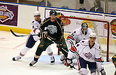 February 24th 2008:  John Scott (20) of the Houston Aeros screens as Martin Lojek (8), Tyler Plante (31) and Mike Funk (4) defend during a game vs. the Rochester Amerks at Blue Cross Arena at the War Memorial in Rochester, NY.  The Aeros defeated the Amerks 4-0.   Photo copyright Mike Janes Photography 2008