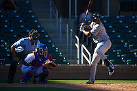 Glendale Desert Dogs outfielder Jacob Scavuzzo (21) at bat in front of umpire Ryan Goodman and catcher Jose Trevino during an Arizona Fall League game against the Surprise Saguaros on October 23, 2015 at Salt River Fields at Talking Stick in Scottsdale, Arizona.  Glendale defeated Surprise 9-6.  (Mike Janes/Four Seam Images)