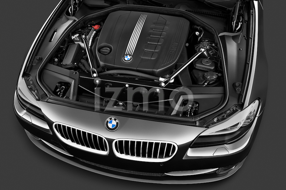 High angle engine detail of a 2013 BMW 5 Series 530d Wagon