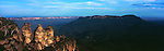 Sun Setting on the Three Sisters in Katoomba, Blue Mountains.  New South Wales, Australia.<br />