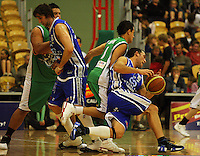 Matt Te Huna slips over trying to get round Daniel Simon during the NBL Round 14 match between the Manawatu Jets  and Wellington Saints. Arena Manawatu, Palmerston North, New Zealand on Saturday 31 May 2008. Photo: Dave Lintott / lintottphoto.co.nz