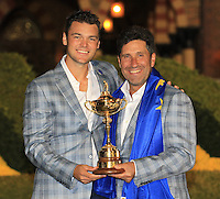 Winning captain Jose Maria Olazabal and Martin Kaymer with the Ryder Cup at the end of Sunday's singles matches at the Ryder Cup 2012, Medinah Country Club,Medinah, Illinois,USA 30/09/2012.Picture: Fran Caffrey/www.golffile.ie.