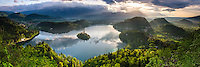 Lake Bled landscape, Slovenia. Lake Bled Island and the Julian Alps at sunrise, seen from Osojnica Hill, Bled, Julian Alps, Gorenjska, Slovenia, Europe