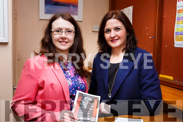 Working hard behind the scenes at the opening night of the Kerry Drama Festival in the Ivy Leaf in Castleisland on Sunday night. L-r, Ann Marie Reidy and Eilis O'Leary.