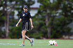 24 August 2014: Duke assistant coach Carla Overbeck. The Duke University Blue Devils played the Stanford University Cardinal at Fetzer Field in Chapel Hill, NC in a 2014 NCAA Division I Women's Soccer match. Stanford won the game 2-0.