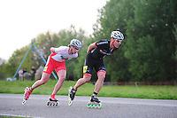 INLINE-SKATEN: STEENWIJK: Gagelsweg (start/finish), Schansweg, Meppelerweg, KPN Inline Cup, Klim van Steenwijk, 02-05-2012, Niels Mesu (#77), Meindert Bouma (#38), ©foto Martin de Jong