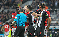 Scott McTominay of Man Utd involved in heated exchange at full time during the Premier League match between Newcastle United and Manchester United at St. James's Park, Newcastle, England on 6 October 2019. Photo by J GILL / PRiME Media Images.