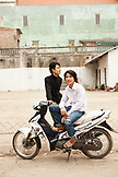 VIETNAM, Hanoi, Bathranag Village, a portrait of two friends on the side of the road