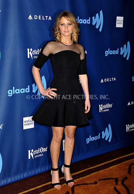 WWW.ACEPIXS.COM......April 20, 2013, Los Angeles, CA.....Jennifer Lawrence arriving at the 24th Annual GLAAD Media Awards held at the JW Marriott Los Angeles at L.A. LIVE on April 20, 2013 in Los Angeles, California. ..........By Line: Peter West/ACE Pictures....ACE Pictures, Inc..Tel: 646 769 0430..Email: info@acepixs.com