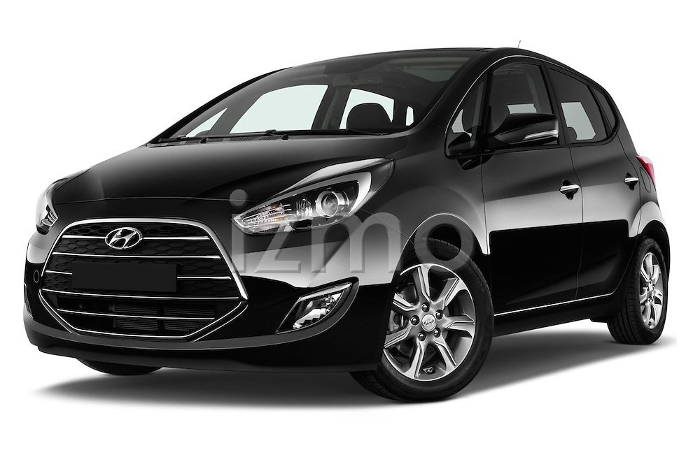 Stock pictures of low aggressive front three quarter view of 2016 Hyundai ix20 Joy 5 Door Mini MPV Low Aggressive