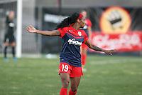 Piscataway, NJ - Sunday April 24, 2016: Washington Spirit forward Crystal Dunn (19). The Washington Spirit defeated Sky Blue FC 2-1 during a National Women's Soccer League (NWSL) match at Yurcak Field.