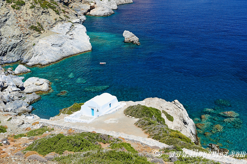 The famous Agia Anna beach of Amorgos island in Cyclades, Greece