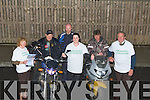 LAUNCH: Launching the slow Motor Cycle race at Fels Point Hotel Tralee were members of the South West Motorcycle Club for Parkinson. l-r: Joan Walsh, Jimmy Doyle, Liam Counihan, Louise Walsh (Fels Point Hotel), Dermot Carmody and Stan Rogers.... ....