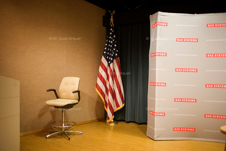 The stage is empty before Republican presidential candidate Jon Huntsman speaks at a town hall event at BAE Systems, a defense contractor, in Nashua, New Hampshire, USA. Huntsman has focused his national campaign on New Hampshire. During this speech and question and answer session, Huntsman stressed the importance of manufacturing in maintaining the US's dominance in the global economy and for fostering national security. Huntsman is the former ambassador to China under Obama and former governor of Utah.