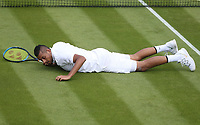Nick Kyrgios (AUS) during his match against Jordan Thompson (AUS) in their Gentleman's Singles First Round match<br /> <br /> Photographer Rob Newell/CameraSport<br /> <br /> Wimbledon Lawn Tennis Championships - Day 2 - Tuesday 2nd July 2019 -  All England Lawn Tennis and Croquet Club - Wimbledon - London - England<br /> <br /> World Copyright © 2019 CameraSport. All rights reserved. 43 Linden Ave. Countesthorpe. Leicester. England. LE8 5PG - Tel: +44 (0) 116 277 4147 - admin@camerasport.com - www.camerasport.com