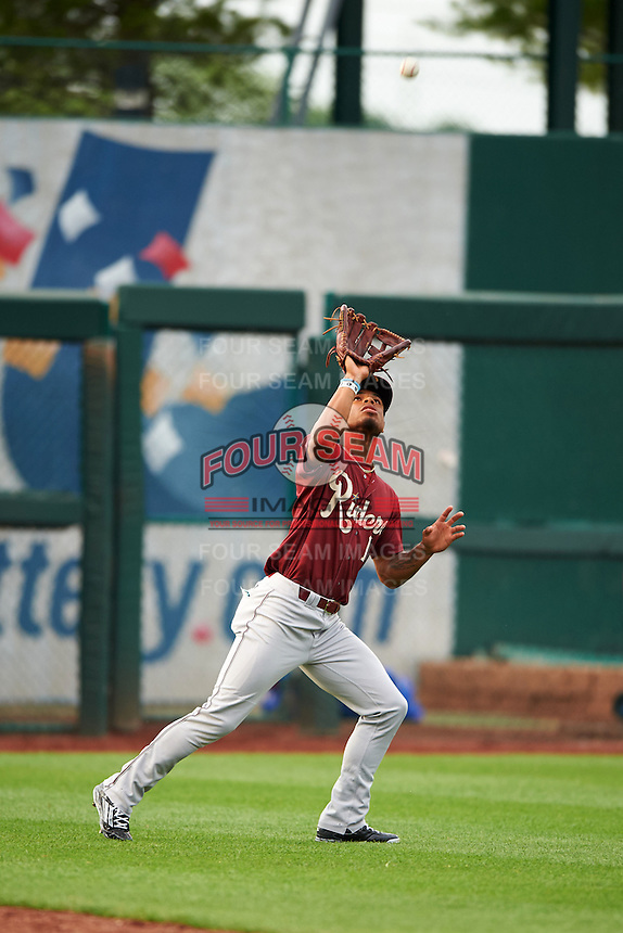 Frisco RoughRiders outfielder Nick Williams (1) catches a fly ball during a game against the Springfield Cardinals on June 3, 2015 at Hammons Field in Springfield, Missouri.  Springfield defeated Frisco 7-2.  (Mike Janes/Four Seam Images)