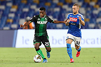 Junior Trarre US Sassuolo and Stanislav Lobotka of SSC Napoli compete for the ball<br /> during the Serie A football match between SSC  Napoli and US Sassuolo at stadio San Paolo in Naples ( Italy ), July 25th, 2020. Play resumes behind closed doors following the outbreak of the coronavirus disease. <br /> Photo Cesare Purini / Insidefoto