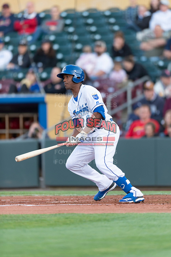 Omaha Storm Chasers left fielder Elier Hernandez (6) during a Pacific Coast League game against the Memphis Redbirds on April 26, 2019 at Werner Park in Omaha, Nebraska. Memphis defeated Omaha 7-3. (Zachary Lucy/Four Seam Images)