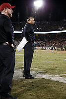 Stanford, CA - November 18, 2017: David Shaw, head coach, during the Stanford vs California football game Saturday night at Stanford Stadium.<br /> <br /> The Stanford Cardinal defeated the California Golden Bears 17 to 14.