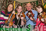 Fiddlers on the roof: At the Eigse Dhiarmuid Ui Chathain fiddle master class upstairs in the Ceolann, Lixnaw, on Saturday morning were Emma O'Leary, Scartaglen (Tutor), Laura McElligott, Glenoe, James Allman, Tralee, and Davina Guerin, Ballyduff..