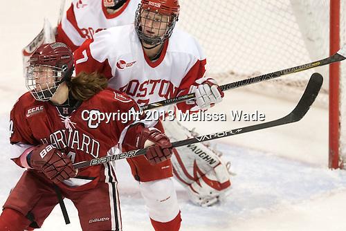 The Harvard University Crimson defeated the Boston University Terriers 3-0 in the 2013 Beanpot consolation game on Tuesday, February 12, 2013, at Matthews Arena in Boston, Massachusetts.