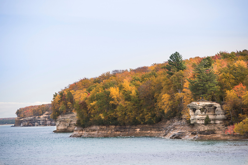 Fall color at Chapel Rock in Pictured Rocks National Lakeshore on Michigan's Upper Peninsula.