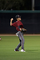 AZL Diamondbacks left fielder Alek Thomas (5) throws to the infield during an Arizona League game against the AZL White Sox at Camelback Ranch on July 12, 2018 in Glendale, Arizona. The AZL Diamondbacks defeated the AZL White Sox 5-1. (Zachary Lucy/Four Seam Images)