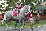 August 29, 2015. Jose Flores climbs aboard Harbor Kid before race 6, a $20,000 claiming event. Undercard races and scenes around the track on Smarty Jones Stakes Day at  Parx Racing in Bensalem, PA.  (Joan Fairman Kanes/ESW/CSM)