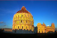 Italy, Pisa, The Bapistry and the Leaning Tower of Pisa