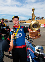 Jul 29, 2018; Sonoma, CA, USA; NHRA top fuel driver Blake Alexander celebrates after winning the Sonoma Nationals at Sonoma Raceway. Mandatory Credit: Mark J. Rebilas-USA TODAY Sports