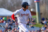 Wisconsin Timber Rattlers shortstop Gilbert Lara (11) races to first during a Midwest League game against the Quad Cities River Bandits on April 8, 2017 at Fox Cities Stadium in Appleton, Wisconsin.  Wisconsin defeated Quad Cities 3-2. (Brad Krause/Four Seam Images)