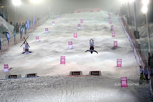 Philippe Marquis (CAN), Sho Endo (JPN), DECEMBER 13, 2014 - Freestyle Skiing : Sho Endo of Japan competes with Philippe Marquis of Canada during the FIS Freestyle Skiing World Cup Men's Dual Moguls Final in Ruka, Kuusamo Finland. (Photo by Hiroyuki Sato/AFLO)