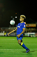AFC Wimbledon's Lyle Taylor controls on his chest during the Carabao Cup match between AFC Wimbledon and Brentford at the Cherry Red Records Stadium, Kingston, England on 8 August 2017. Photo by Carlton Myrie.