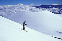 Skiing on a volcanic cinder cone at Mauna Kea, Big Island, Hawaii