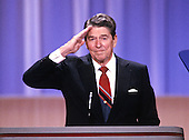 United States President Ronald Reagan offers a military salute to supporters from the podium of the 1988 Republican Convention at the Super Dome in New Orleans, Louisiana on August 15, 1988.<br /> Credit: Arnie Sachs / CNP